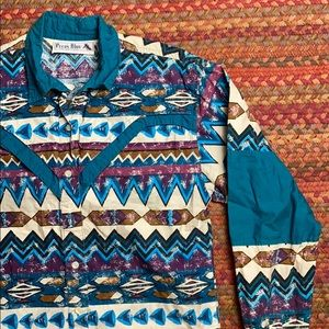 VINTAGE 1993 GEOMETRIC WESTERN BUTTON UP